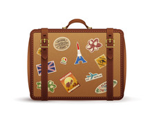 Old Vintage Leather Suitcase W...