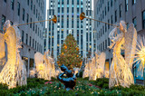 Fototapeta Nowy York - Famous Christmas Decoration with Angels and Christmas Tree, NYC