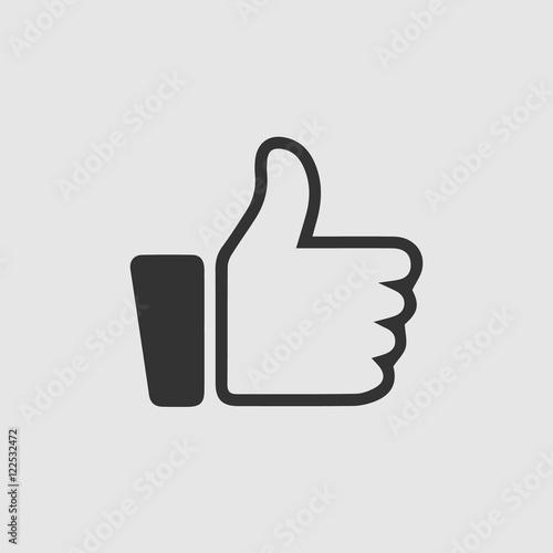 Like vector icon. Thumb up simple symbol. Black illustration isolated on grey background.