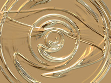 Abstract Gold Disk -  Digitally Generated Image