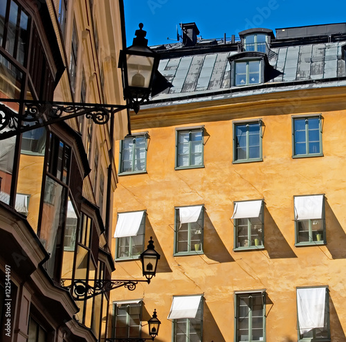Photo  Windows and lights of Old Town. Stockholm. Sweden