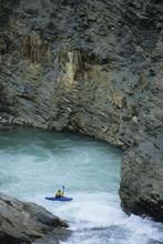 Kayaker On Pipestone River, Lake Louise, Banff National Park, Alberta, Canada