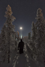 Person Standing In The Snow Surrounded By Snow Covered Trees While Looking At The Moon, Old Crow, Yukon.