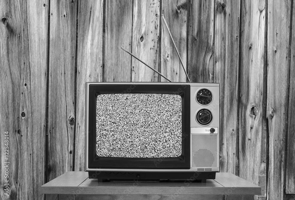 Vintage Television With Rustic Wood Wall And Static Screen In Black