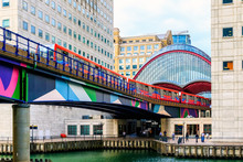 Docklands Light Railway In Canary Wharf, London