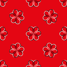 White Black Flowers On Red Background