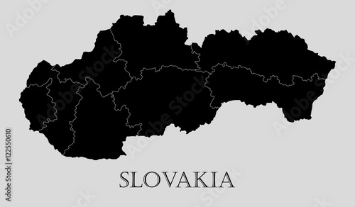Black Slovakia map - vector illustration Canvas Print