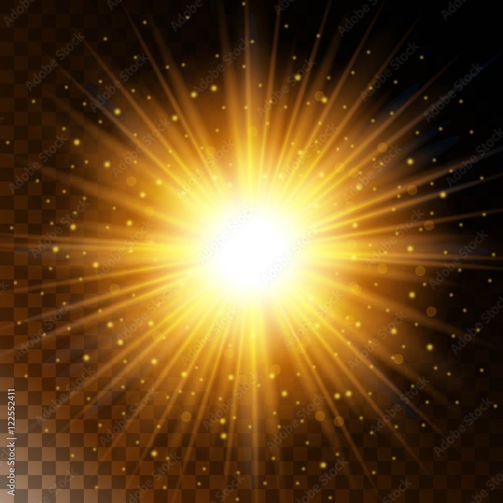 Fototapety, obrazy: Set of glowing light effect star, the sunlight warm yellow glow with sparkles on a transparent background. Vector illustration