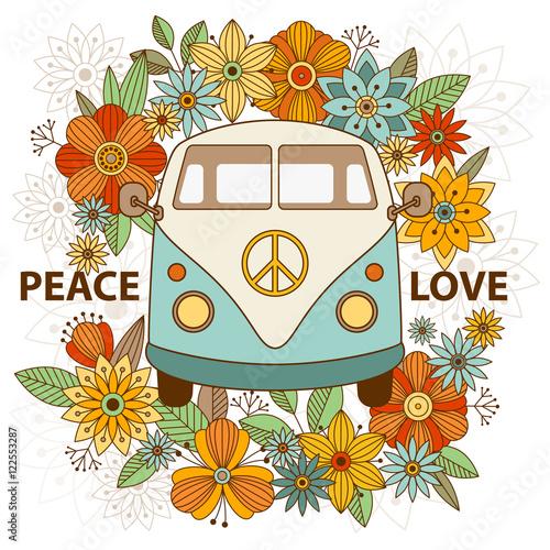 Fotografía Hippie vintage car a mini van