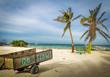 Wood Cart with Go Slow message at Caye Caulker - Belize
