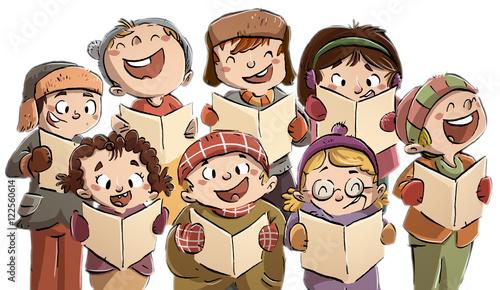 Foto niños cantando en coro en navidad