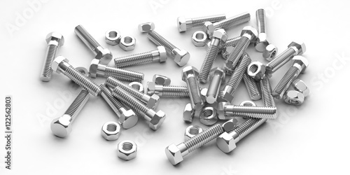 Nuts and bolts on white background. 3d illustration