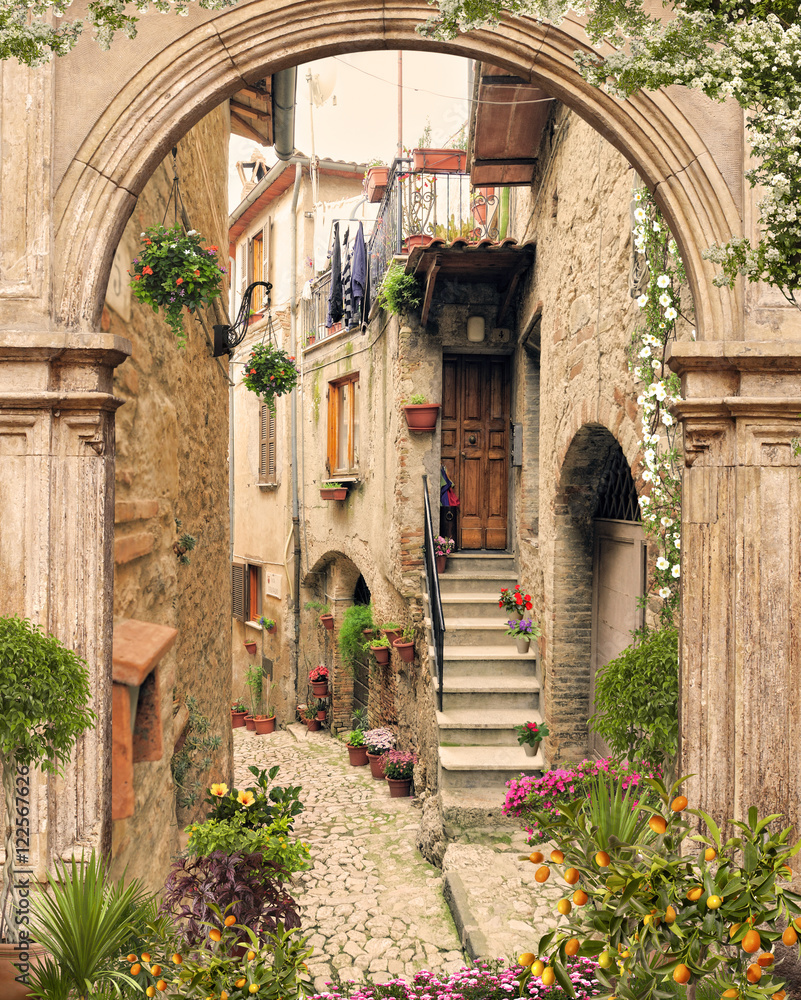 Fototapety, obrazy: Old arch with open doors. Flovers and antique street view