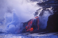 USA, Hawaii, (Big Island) Kilauea Volcano - Lava Tubes Flowing Into Sea At Dusk