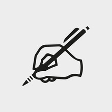 Hand Writing Icon Stock Vector Illustration Flat Design