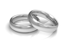 Silver Wedding Rings Concept   3d Illustration