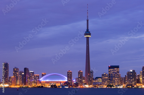 Skyline view from Toronto Islands at twilight, Toronto, Ontario, Canada