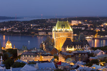 High Viewpoint Twilight View Of Vieux-Quebec And Vieux-Port. The Old Sections Of Quebec City, Quebec, Canada.