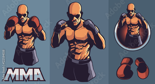 Obraz na płótnie MMA fighter club design elements for logo with optional boxing gloves and framin