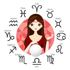Woman Fortuneteller And Crystal Ball With Zodiac Signs, Astrologer, Constellation, Western, Beauty, Cosmetic, Fashion, Paranormal, Soothsayer, Magic, Occult, Presage, Fate, Prophecy