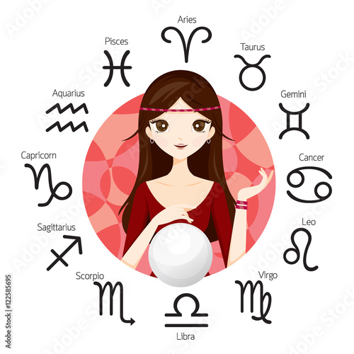 Photo Woman Fortuneteller And Crystal Ball With Zodiac Signs, Astrologer, Constellatio