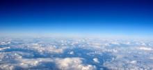 Flight Above Clouds, Ultraviolet Sky, Photo Toned