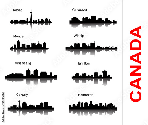 Set City silhouette in Canada Canvas Print