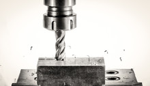 Cnc Milling Machine - Spindle With Cutter, Flying Metal Splinter