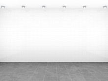 Room With White Tiles Background