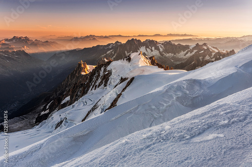 Poster Taupe Aiguille du Midi from Mont Blanc