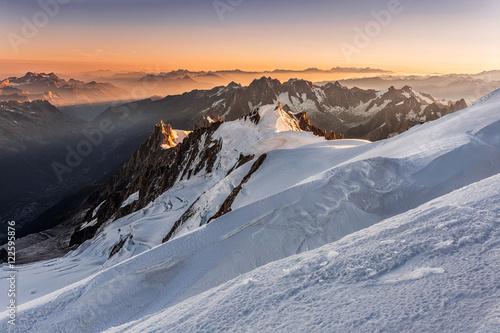 Aluminium Prints Dark grey Aiguille du Midi from Mont Blanc