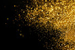 canvas print picture - Shiny golden glitter on black background