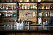 canvas print picture - Different beverages on bar counter in modern cafe