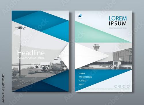 Fotografía  Blue green flyer design template vector, Leaflet cover presentat