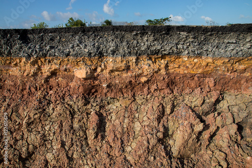 Fotografie, Tablou The curb erosion from storms. To indicate the layers of soil and