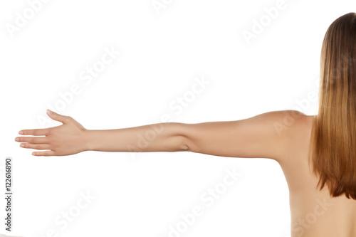 Zdjęcie XXL cała ręka z palmą na białym tle