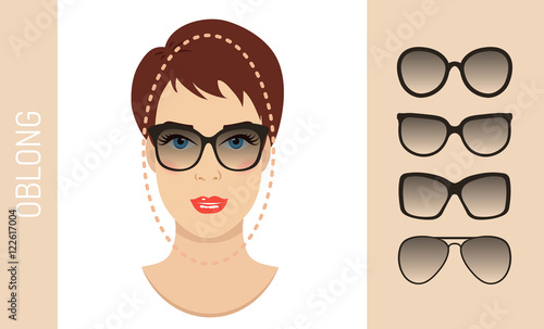 54f50e75c4 Woman sunglasses shapes for oblong women face type. Various forms of summer  glasses for long