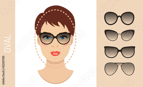ac47812baf Fashion collection. Vector set. By cheremuha. Woman sunglasses shapes for  oval women face type. Various forms of summer glasses for oval