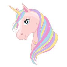 Pink Unicorn Head With Rainbow...
