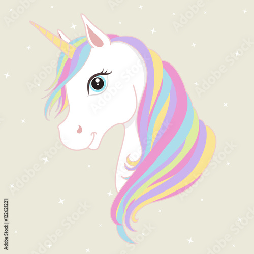 Fotomural White unicorn vector head with mane and horn