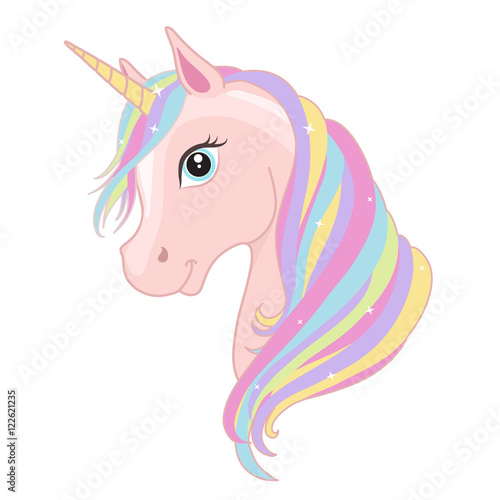 Pink unicorn head with rainbow mane and horn isolated on white background Wallpaper Mural