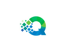 Q Letter Multiply Colorful Shadow Logo Designs Element