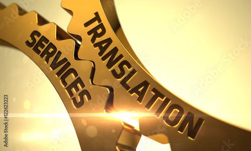 Fotografía  Golden Gears with Translation Services Concept. 3D.