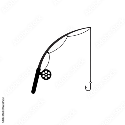Fishing rod simple silhouette icon. Wall mural