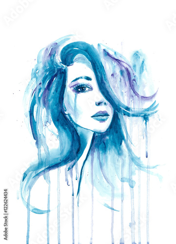 splatter watercolor portrait of a girl