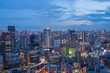 Aerial view of Osaka skyline at twilight