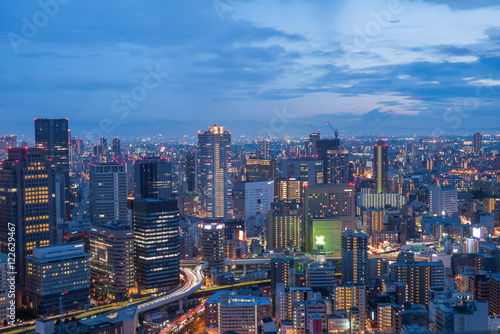 Fototapety, obrazy: Aerial view of Osaka skyline at twilight