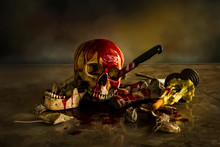 Skull Abused With Knife, Still Life Style