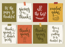 Thanksgiving Day Vintage Gift Tags And Cards With Calligraphy. Handwritten Lettering.