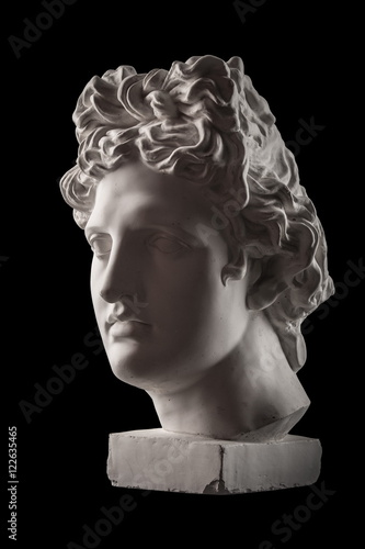 Fototapety, obrazy: Gypsum statue of Apollo's head on a black background